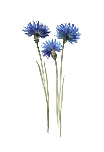 Blue Cornflower Painting - Cornflowers Art Print Blue Green Wall Decor, Abstract Decor Modern House Illustration  by Joanna Szmerdt