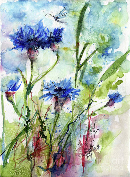 Painting - Cornflowers Korn Blumen Watercolor Painting by Ginette Callaway