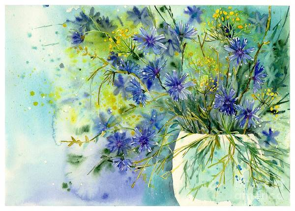 Field Of Flowers Wall Art - Painting - Cornflowers Symphony by Suzann's Art