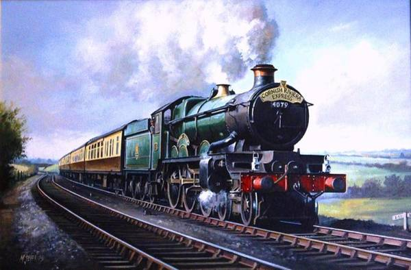 Vintage Train Painting - Cornish Riviera Express. by Mike Jeffries