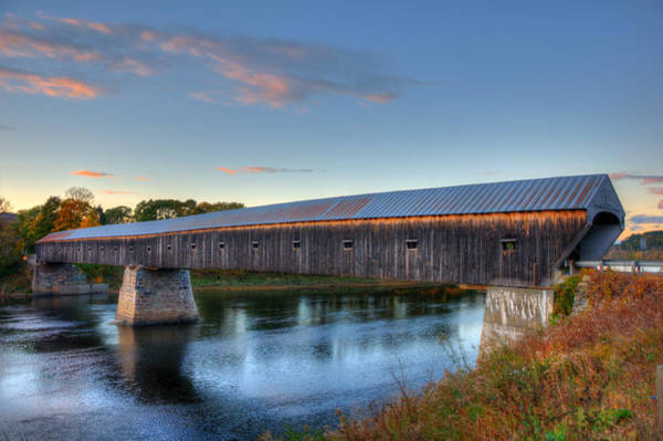 Photograph - Cornish Windsor Covered Bridge Sunset by Joann Vitali