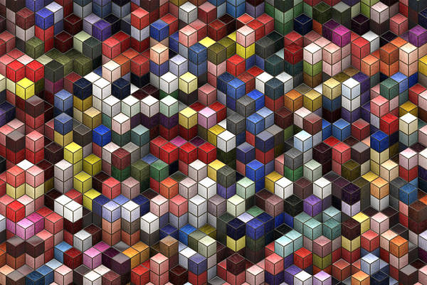 Visual Illusion Wall Art - Painting - Cororful Cubes 2 by Jack Zulli