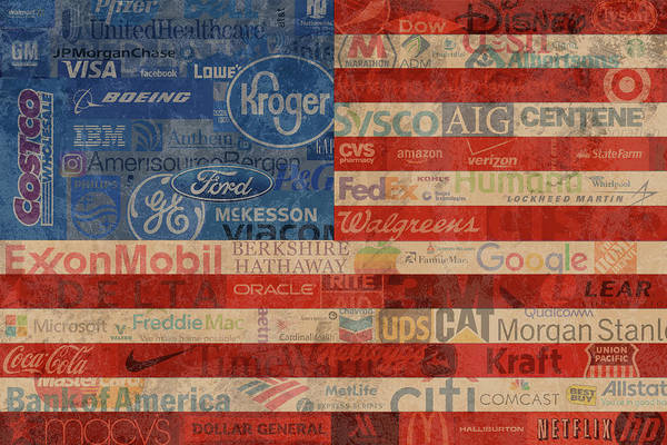 Wall Art - Mixed Media - Corporate America Fortune 500 Companies Usa Flag by Design Turnpike