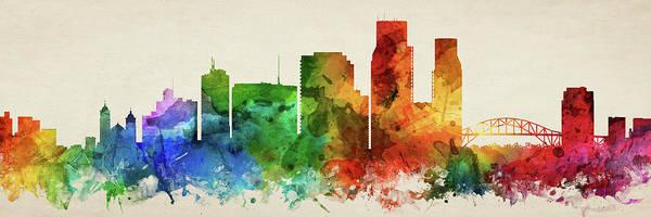 Wall Art - Digital Art - Corpus Christi Skyline Panorama Ustxcc-pa03 by Aged Pixel