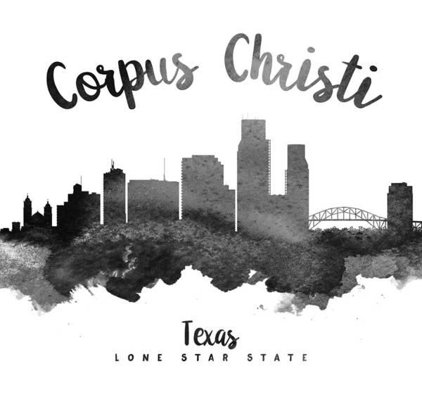 Wall Art - Painting - Corpus Christi Texas Skyline 18 by Aged Pixel