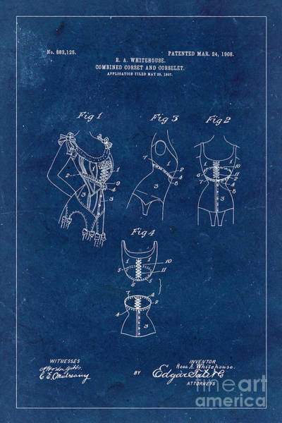 Wall Art - Photograph - Corset Patent From 1908 - Blue by Delphimages Photo Creations