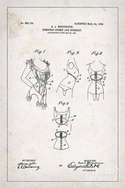 Wall Art - Photograph - Corset Patent From 1908 by Delphimages Photo Creations