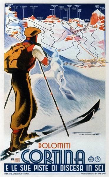 Kunst Painting - Cortina Dolomiti Skiing Vintage Travel Poster by Studio Grafiikka
