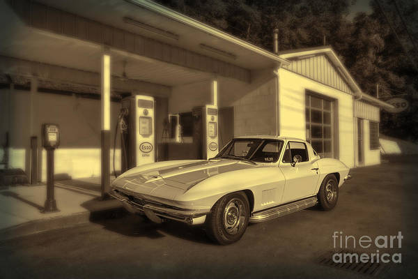 Photograph - Corvette 1976 In Front Of Service Station by Dan Friend