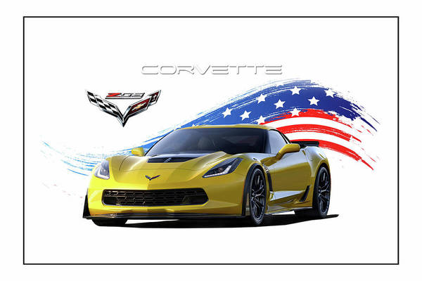 Wall Art - Digital Art - Corvette America Victory Yellow by Peter Chilelli