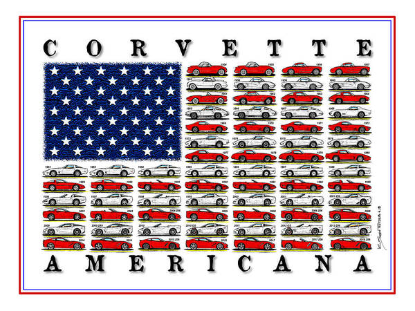 Digital Art - Corvette American Flag by K Scott Teeters