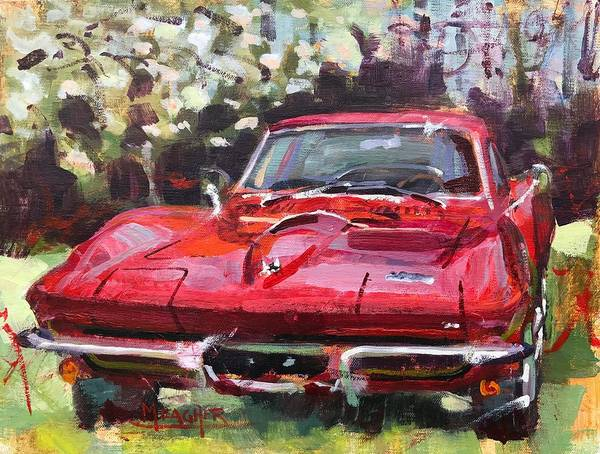 Collector Car Painting - Corvette And Pear Blossoms by Spencer Meagher