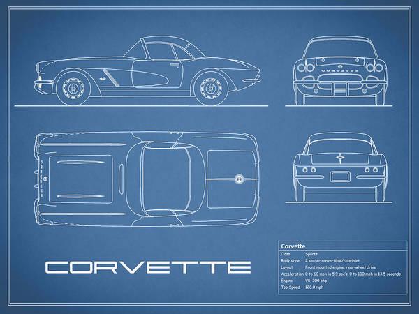 Wall Art - Photograph - Corvette C1 Blueprint by Mark Rogan