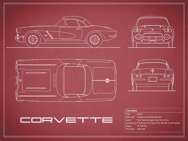 Wall Art - Photograph - Corvette C1 Blueprint - Red by Mark Rogan