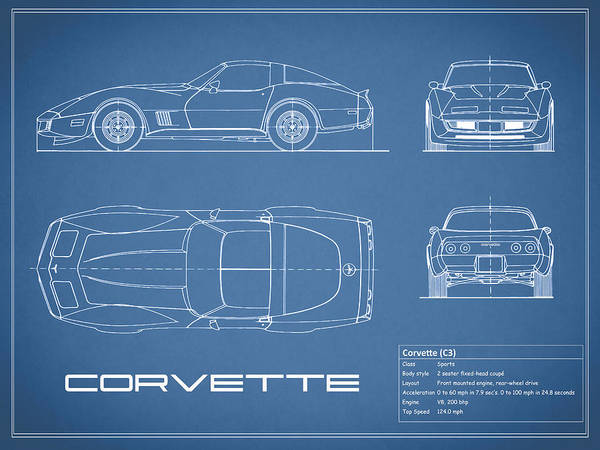 Wall Art - Photograph - Corvette C3 Blueprint by Mark Rogan