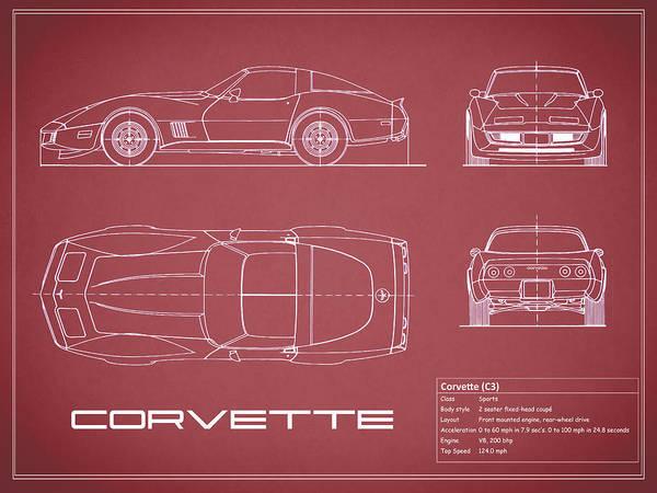 Wall Art - Photograph - Corvette C3 Blueprint - Red by Mark Rogan