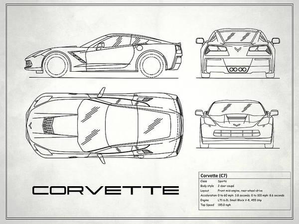 Corvette Photograph - Corvette C7 Blueprint In White by Mark Rogan