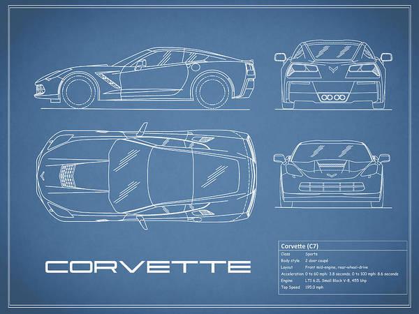 C7 Wall Art - Photograph - Corvette C7 Blueprint by Mark Rogan
