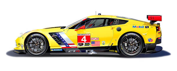 Le Mans 24 Wall Art - Drawing - Corvette C7.r Lm Illustration by Alain Jamar