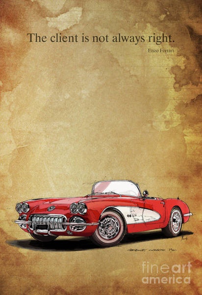 Wall Art - Digital Art - Corvette. Classic Car. by Drawspots Illustrations
