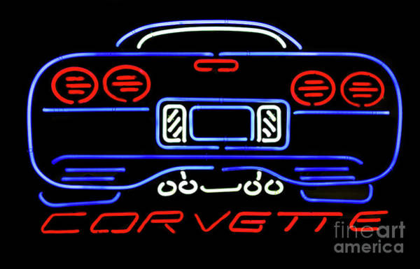 Photograph - Corvette Neon Sign by Miles Whittingham