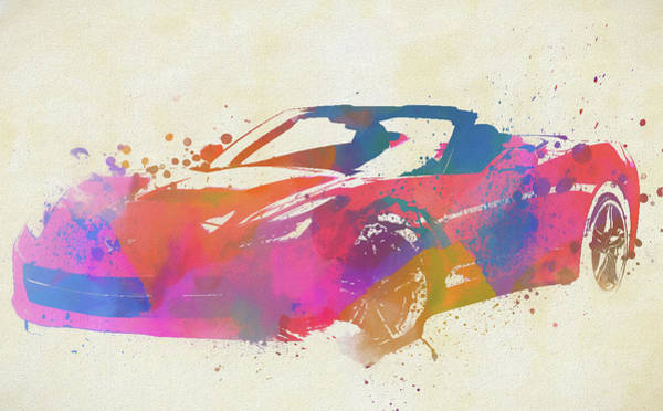 Painting - Corvette Stingray Convertible Watercolor by Dan Sproul