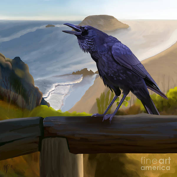 Fence Post Digital Art - Corvid By The Sea by Maxwell Dusky