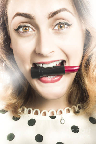 Photograph - Cosmetic Pin Up With Lipstick Smile by Jorgo Photography - Wall Art Gallery