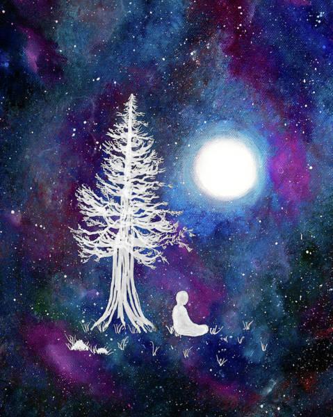 Full Moon Painting - Cosmic Buddha Meditation by Laura Iverson