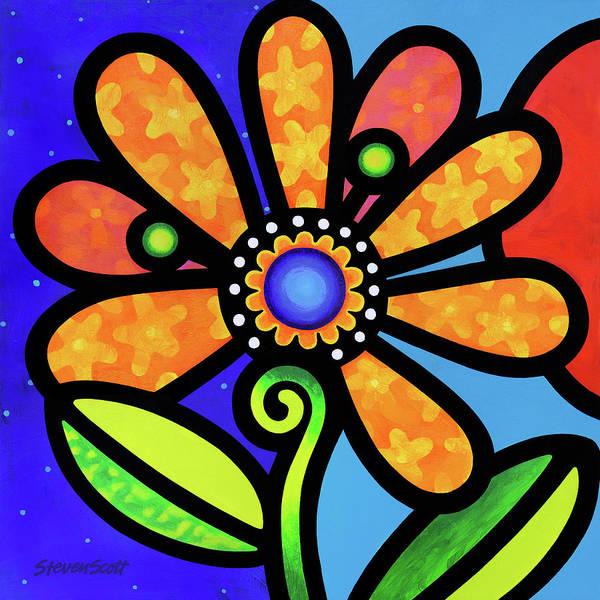 Painting - Cosmic Daisy In Yellow by Steven Scott