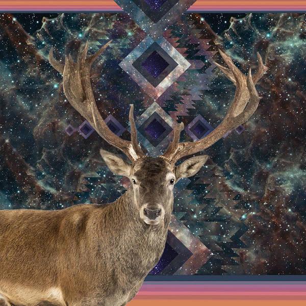 Deer Drawing - Cosmic Deer by Lori Menna