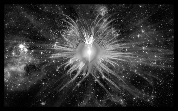 Digital Art - Cosmic Heart Of The Universe Bw by Shawn Dall