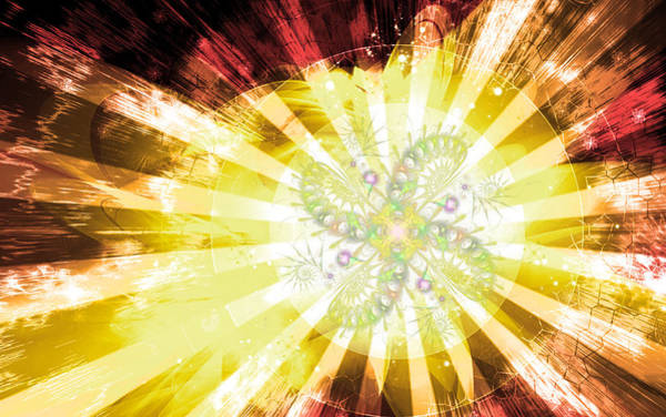 Digital Art - Cosmic Solar Flower Fern Flare 2 by Shawn Dall