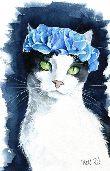 Painting - Cosmo - Tuxedo Cat Painting by Dora Hathazi Mendes