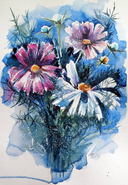 Cosmos Painting - Cosmos Flowers by Kovacs Anna Brigitta