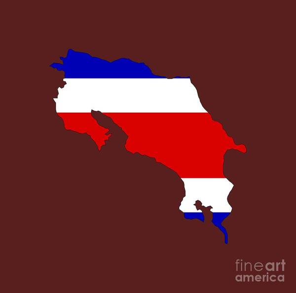 9dbe429f9d Costa Rica Map Wall Art - Digital Art - Costa Rica Flag Map by Frederick  Holiday