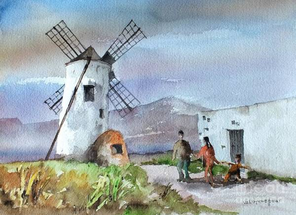 Painting - F 902 Cotillo Windmill, Forteventura, Spain. by Val Byrne