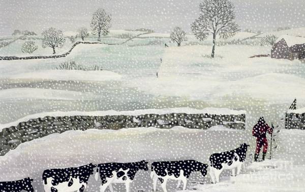 Dairy Painting - Cotswold - Winter Scene by Maggie Rowe