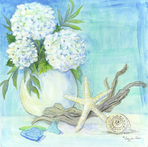 Wall Art - Painting - Cottage At The Shore 1 White Hydrangea Bouquet W Driftwood Starfish Sea Glass And Seashell by Audrey Jeanne Roberts