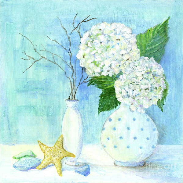 Wall Art - Painting - Cottage At The Shore 2 White Hydrangea Bouquet W Sea Glass And Starfish by Audrey Jeanne Roberts