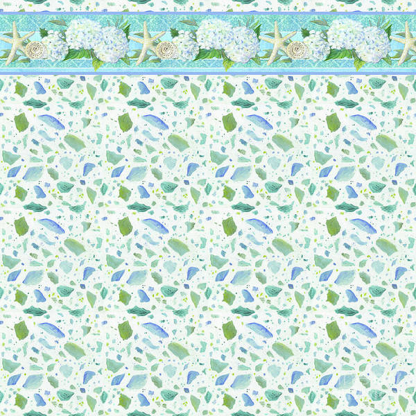 Wall Art - Painting - Cottage At The Shore 3 Pattern Terrazzo With White Hydrangeas Starfish N Sea Glass by Audrey Jeanne Roberts