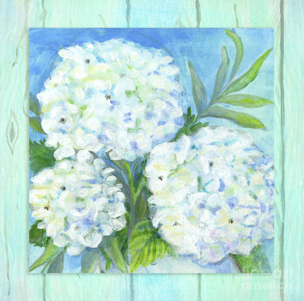 Wall Art - Painting - Cottage At The Shore 5 White Hydrangea Floral Over Wood by Audrey Jeanne Roberts