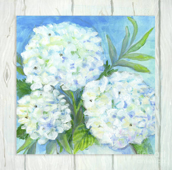 Wall Art - Painting - Cottage At The Shore 5 White Washed Wood W Hydrangeas And Eucalyptus Leaves by Audrey Jeanne Roberts