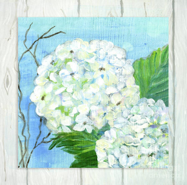 Wall Art - Painting - Cottage At The Shore 6 White Hydrangea Blossoms W Twigs And Whitewashed Wood by Audrey Jeanne Roberts
