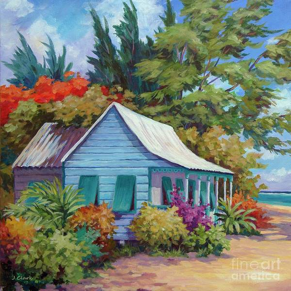 Waters Edge Wall Art - Painting - Cottage At The Water's Edge Square  by John Clark