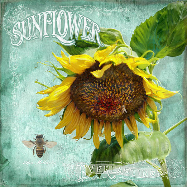 Annual Painting - Cottage Garden - Sunflower Standing Tall by Audrey Jeanne Roberts