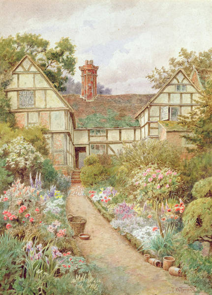 Half Timbered Painting - Cottage Garden by Thomas Nicholson Tyndale