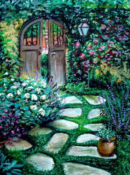 Pastel - Cottage Gates by Elizabeth Robinette Tyndall