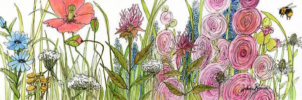 Cottage Hollyhock Garden Art Print
