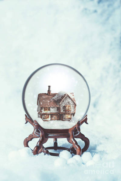 Wall Art - Photograph - Cottage In Snowglobe by Amanda Elwell